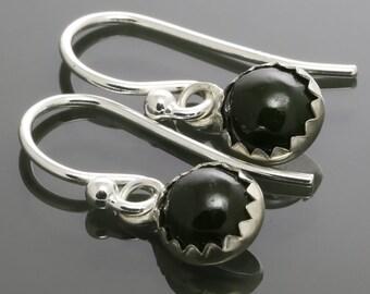 6mm Nephrite Jade Sterling Silver Drop Earrings - s15e069