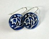 Tulip Porcelain Earrings In Navy Blue and White With Sterling Silver Earwires