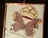 2-sided Copper Finished Glass Necklace with Butterfly & Rose Images