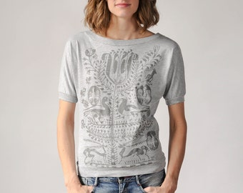 Dolman Sleeve Top, Tree of Life Design, 100% cotton, Bohemian Clothes, Gray T-shirt, Women's Shirt, Screen Printed Tee