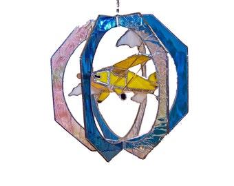Bi Wing Airplane Stained Glass Suncatcher