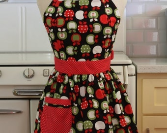 Retro Apron Red and Green Apples on Black CHLOE
