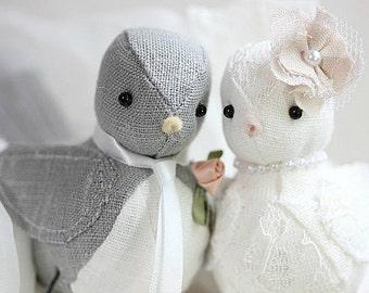 Wedding Cake Topper Love Birds - Love Birds cake topper - Purple - Wedding Bird cake topper - Customized Order