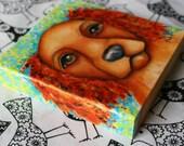"Dog Spaniel Original Painting on wood block 3.5"" x 3.5"" Dog Art Gift"