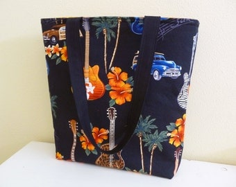 Tote Bag Surf and Rock n Roll, Guitars and Retro Cars