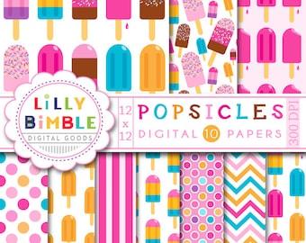 60% off POPSICLE digital paper 10 scrapbook papers for Summer, sprinkles, orange, pink, purple, Instant Download commercial use