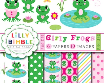 40% off Girl frogs clipart and digital papers frog birthday party scrapbook paper INSTANT DOWNLOAD