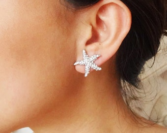 Petite Bridal Starfish Earrings, Crystal Starfish Wedding Earrings, Beach Wedding Bridal Earrings, Destination Wedding Jewelry, SEA MAIDEN