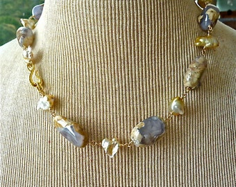 Natural South Sea Keishi Pearls, Blue Chalcedony Necklace