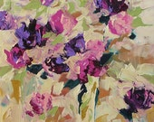 Acrylic Abstract Floral Painting Giclee Print Made To Order Pink Violet Purple Roses Impressionist Fine Art Print Wall Decor Linda Monfort