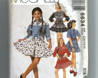 McCall's Girls' Shirt and Skirt Pattern 6634