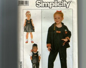Simplicity Child's Overalls or Sundress and Unlined Jacket Pattern 8465