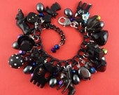 Black Chunky Charm Bracelet - loaded with beads and repurposed mini plastic toys - funky big black chain - kitsch cute novelty unique quirky