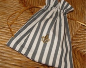 French bag fleur de lys charm fabric gift bag drawstring favor bag gray and white striped