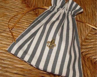 French bag, fleur de lys, charm, fabric gift bag, drawstring, favor bag, gray and white striped