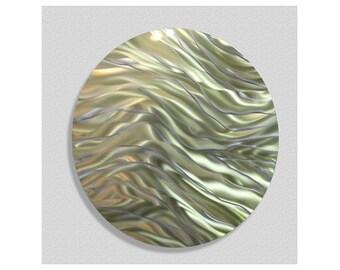Reflective Gold & Green Circle Metal Accent - Abstract Wall Sculpture - Modern Wall Art - Contemporary Home Decor - Caravan by Jon Allen