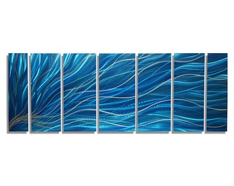 Aqua & Silver Bright Modern Metal Painting - Abstract Wall Sculpture - Colorful Contemporary Metal Wall Art - Aqua Magnetism by Jon Allen
