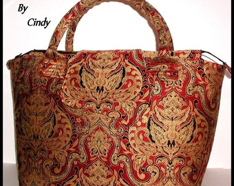 Red And Gold Carpet Bag Tapestry Extra Large Tote Bag Brick Red Black Overnight Bag Lots Of Pockets Cream Taupe Huge Big Water Bottle Pocket