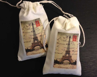Paris France Eiffel Tower Party Favor Bags| Post Card | DELUXE Color COTTON | Personalized | Customized | Merci | Amour | 3x5 | 4x6 | 6x8