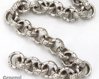 6.3mm Antique Silver Textured Vintage Style Rolo Chain #CC253