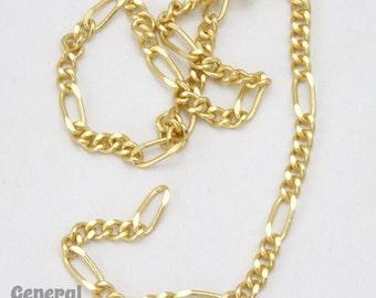 6.2mm x 2.5mm Matte Gold Figaro Chain #CCG222