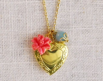 CLEARANCE . tropic sky (bits and pieces sale) // gold heart necklace . heart locket necklace . flower charm necklace . heart charm