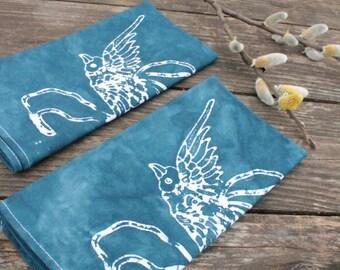 set of two slate blue birds napkins