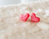 Hot Pink Glitter Heart Stud Earrings