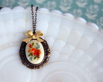 shabby chic vintage floral necklace with yellow bow detail- antique flowers- aged brass