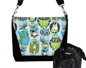 Digital SLR Camera Bag Dslr Camera Bag Purse Womens Camera Bag Case Deluxe - Deluxe Cute Owl blue green MTO