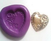 Ornate  Heart  Silicone Mold Mould 25 mm - Vintage  Polymer Clay Valentines Sugar paste Fimo Cake Decorate Icing Tool Fondant