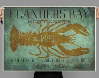 Lobster, Maine Sign, Flanders Bay, Vintage style,  Hand drawn, Original Painting, Digital Art Download Print or Poster