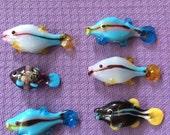 Half-dozen (6) glass fish beads