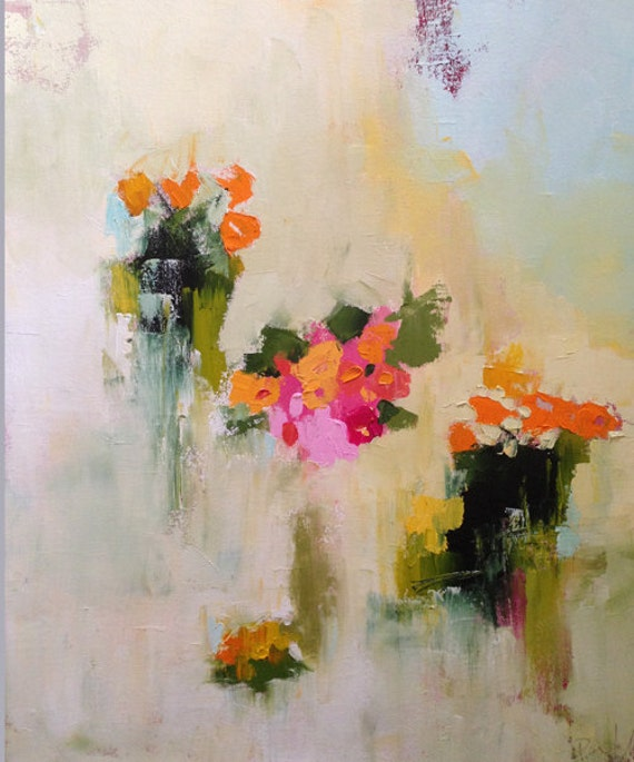 Oil painting abstract art abstract floral bright colors for Bright flower painting