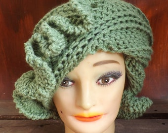 Sage Green Cloche Hat,  Womens Crochet Hat,  Green Womens Hat 1920s,  Sage Hat,  Green Hat,  Cynthia 1920s Cloche Hat with Ruffle