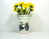 itty bitty cylinder pinstriped blue green with a road bike, made to order / pick your colour