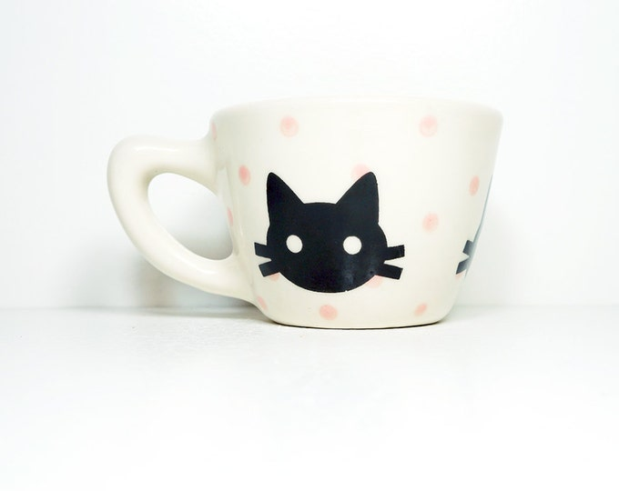 12oz cup with a black kitty head silhouette on bubblegum polkadots, made to order / pick your colour