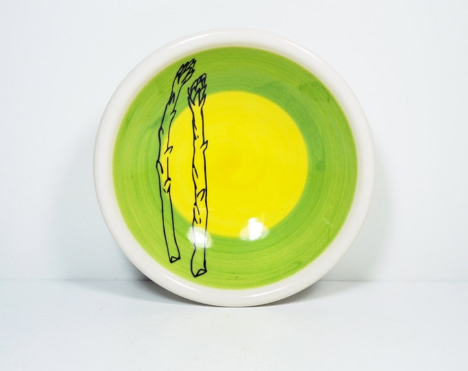 Featured listing image: small dish, with two asparagus stalks on a color block of leaf & yellow, made to order.