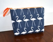 Zipper Pouch, Purse Organizer, Cosmetic Bag - Navy Blue Flamingo with Orange