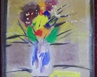 Vintage Signed SYBIL GIBSON Outsider Folk Artist Flowers in Vase 13-5/8 x 16-1/2 1980's