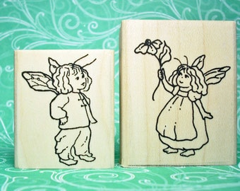 Faerie Boy and Girl Rubber Stamp Set from Faerie Village collection Store Set #2