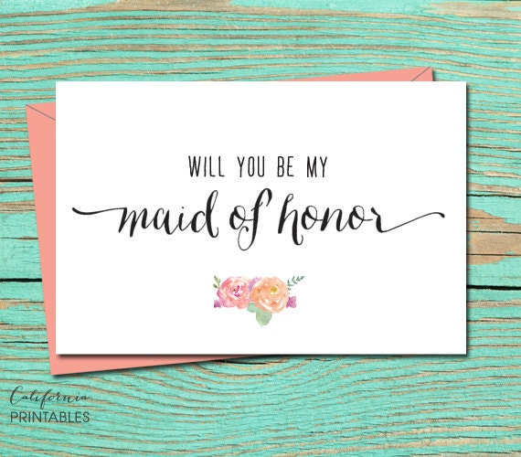Shocking image within will you be my maid of honor printable