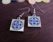 Jewelry for her | Blue mosaic tiles square earrings | Button and pewter upcycle earrings | Gift for a friend, coworker, teacher, mother.