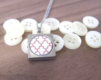 Ethnic jewelry | Red and white moroccan print | Gift for her.