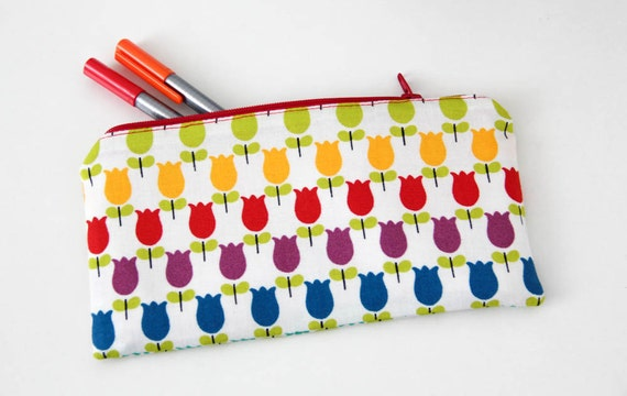 Pencil case - tulips - rainbow - blue - purple - red - orange - yellow - green - make up - jewelry - pencils - handbag - gift - school