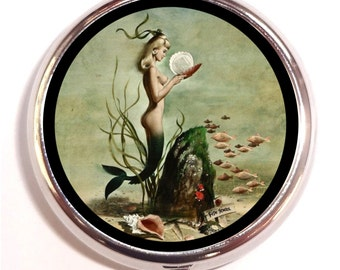 Mermaid 1950's Pill Box Case Pillbox Mermaids Pin Up Retro Nautical Ocean Beach Lovers Artwork Seashell Under the Sea School of Fish