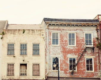 new orleans photography, decatur street, french quarter decor, yellow home decor, brick photograph, travel art, red decor