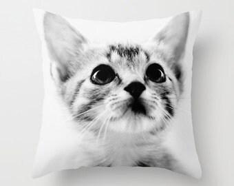 kitten photography pillow, decorative throw pillow, black and white, nursery decor, animal photography, pillow cover, cat photograph