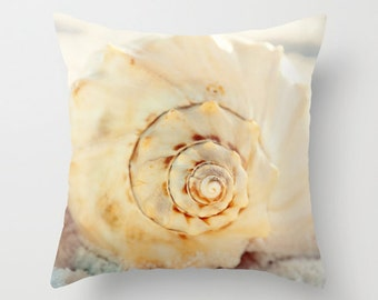 decorative pillow cover, throw pillow, photography pillow cover, home decor, seashell, beach decor, beach pillow, seashell pillow