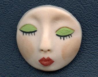 "Polymer Clay 1  1/4"" round Art Doll Face Cab ADG 4"